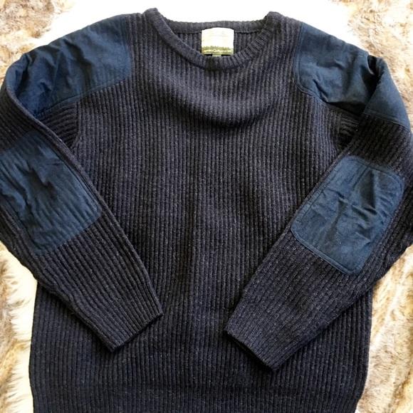 Tasso Elba Sweater Reverse Print Leaves Blue Mens M Medium Crew Neck New NWOT